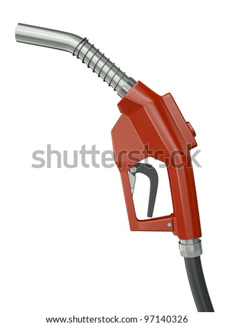 Red gas pump nozzle isolated on white background. 3D render. - stock photo