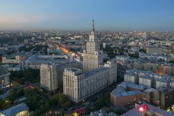 Red Gate Building (Stalin skyscraper) at morning in Moscow, Russia, panorama