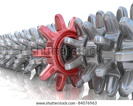 red gear different from the others - stock photo