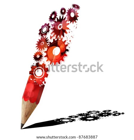 red gears pencil creative isolated on white