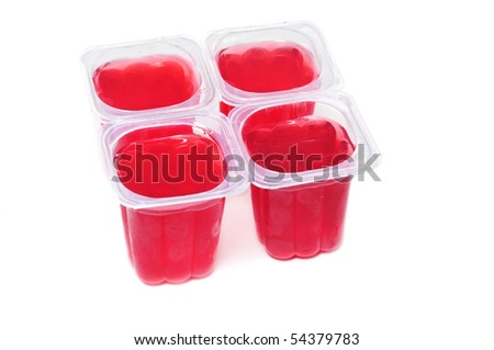 red gelatin glasses on a white background