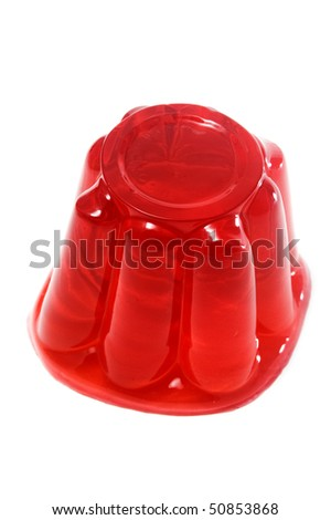 red gelatin isolated on a white background