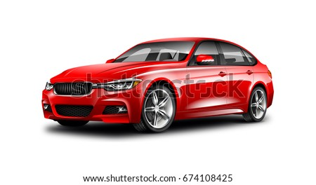 Red Generic Sedan Car. With Isolated Path. 3d illustration.