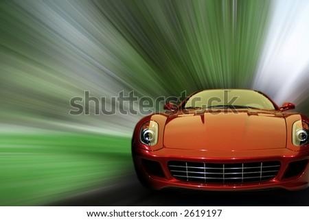 Red generic sports car speeding in the country side. Concept: speed