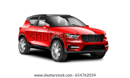 Red generic SUV car. Off Road Crossover with glossy surface on white background perspective view with isolated path
