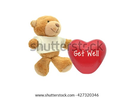 Red Get Well Heart Teddy Bear Stuffed Animal toy isolated on white background #427320346