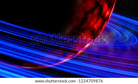 Stock Photo Red giant planet encircled with rings of blue cosmic dust.