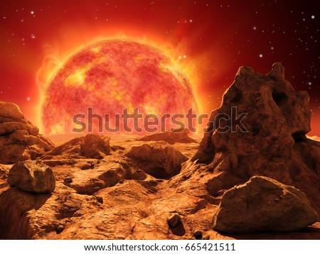 Stock Photo Red giant star on the horizon of a desert planet. 3D illustration.