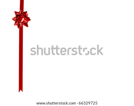 Red gift bow and ribbon border on a white background