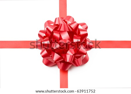 Red gift bow and ribbon isolated on white.