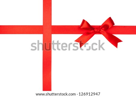 Red gift bow and ribbon on white background