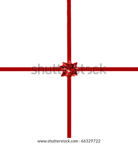 Red gift bow and ribbon on white - centered, square orientation
