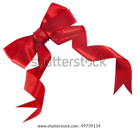 Red gift bow. Beautiful satin ribbon isolated on the white background