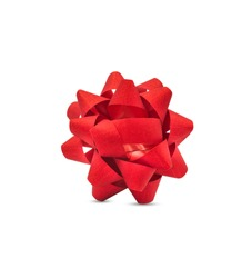 Red gift bow isolated on white background with clipping path.
