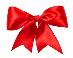 Red gift bow. Ribbon. Isolated on white. Clipping Path