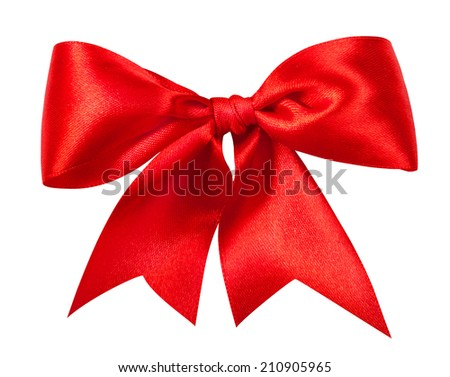 Red gift bow. Ribbon. Isolated on white. Clipping Path #210905965