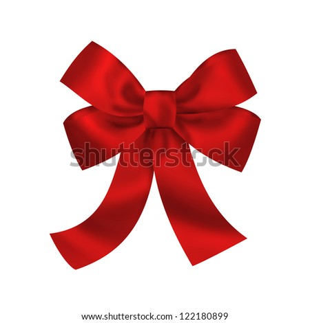 Red gift bow with ribbons isolated on white background