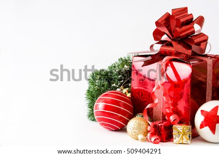 Red gift box and Christmas balls isolated on white background   #509404291