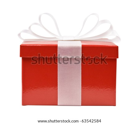Red gift box decorated with white ribbon bow isolated on white. A gift for Christmas, wedding, birthday and Valentine's day.