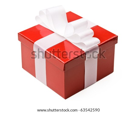 Red gift box decorated with white ribbon bow isolated on white with clipping path. A gift for Christmas,birthday,wedding, Valentine's day.