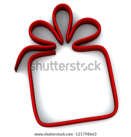 Red gift box icon and frame, 3d image