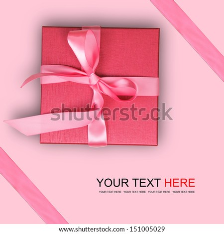 Stock Photo Red gift box on pink background