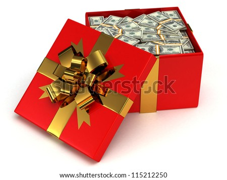 Red Gift box with banknotes of one hundred dollars