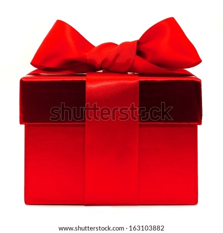 Red gift box with bow over a white background