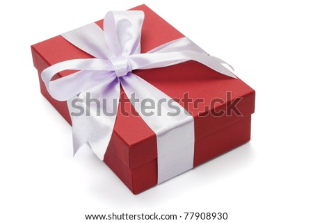 Red gift box with bow ribbon on white background