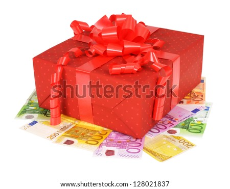 Red gift box with euro money