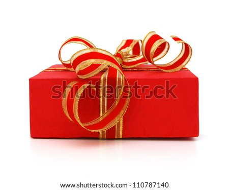 Red gift box with gift ribbon isolated on white yellow
