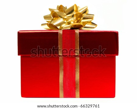 Red gift box with gold bow on a white background