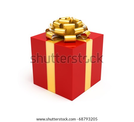 Red gift box with gold ribbon and bow