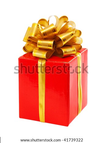 Red gift box with golden ribbon bow, isolated on white