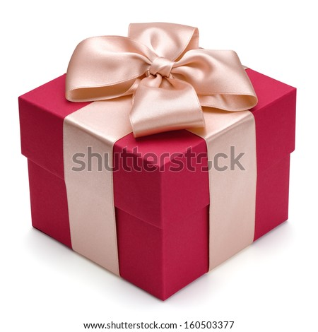 Red gift box with golden ribbon, isolated on the white background, clipping path included.