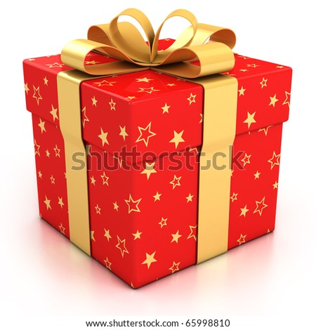 red gift box with golden ribbon over white background 3d illustration