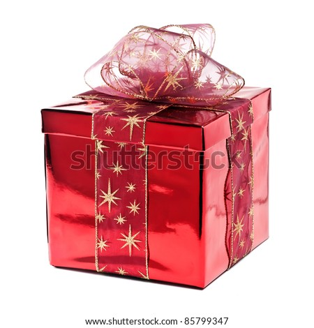 Red gift box with golden stars