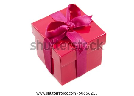 Red gift box with pink knot isolated over white