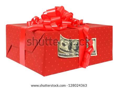 Red gift box with red ribbon and hundred dollars bills