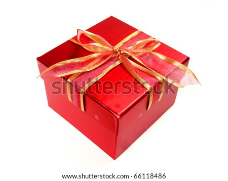 Red gift box with ribbon and bow isolated on a white background
