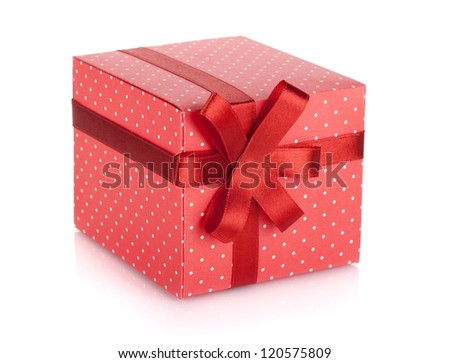 Red gift box with ribbon and bow. Isolated on white background