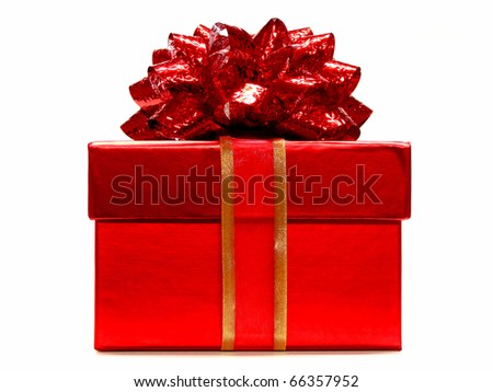 Red gift box with ribbon and bow on a white background