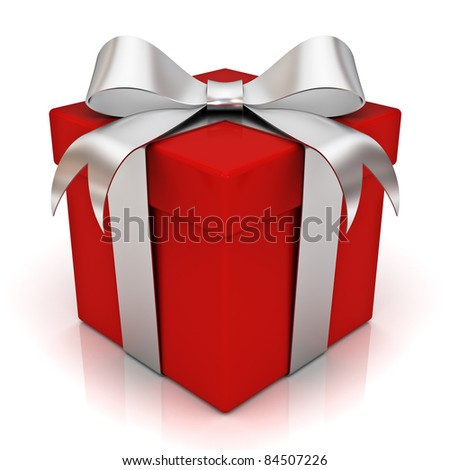 Red gift box with silver ribbon bow isolated on white background