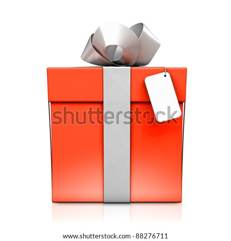 Red gift box with silver ribbon. High resolution 3D illustration with clipping paths.