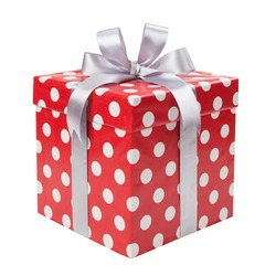 Red gift box with white dots isolated