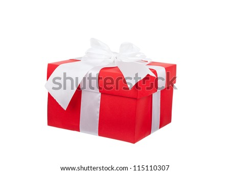red gift box with white ribbon bow isolated on white background, series photo different angle view, concept of christmas birthday anniversary new year surprise present