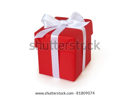 red gift box with white ribbon i