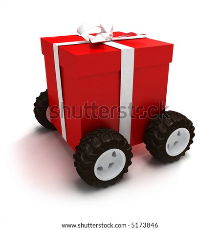 Red gift box with white ribbon on wheels