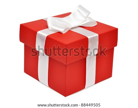 Red gift box with white ribbon over white background - stock photo