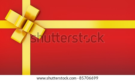 red gift box with yellow ribbon